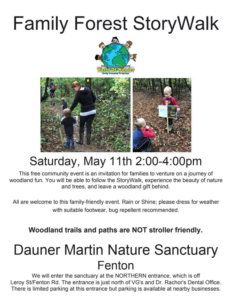 informational flyer about the family forest storywalk