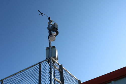 weather station equipment on top of athletic stadium