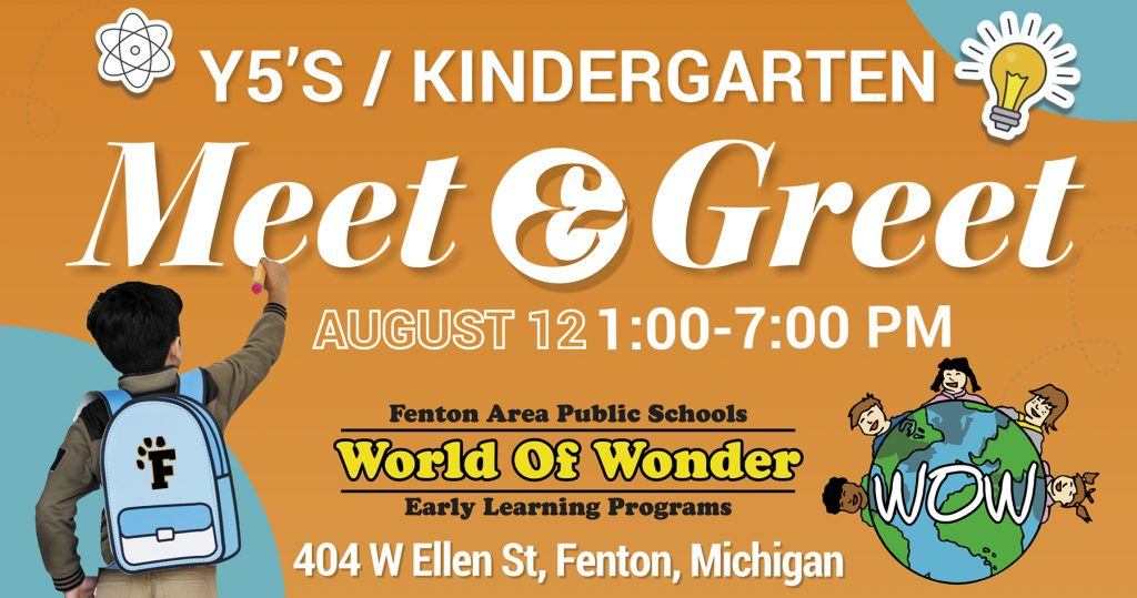 young 5's and kindergarten student meet and greet on august 12th from 1-7pm at World of Wonder